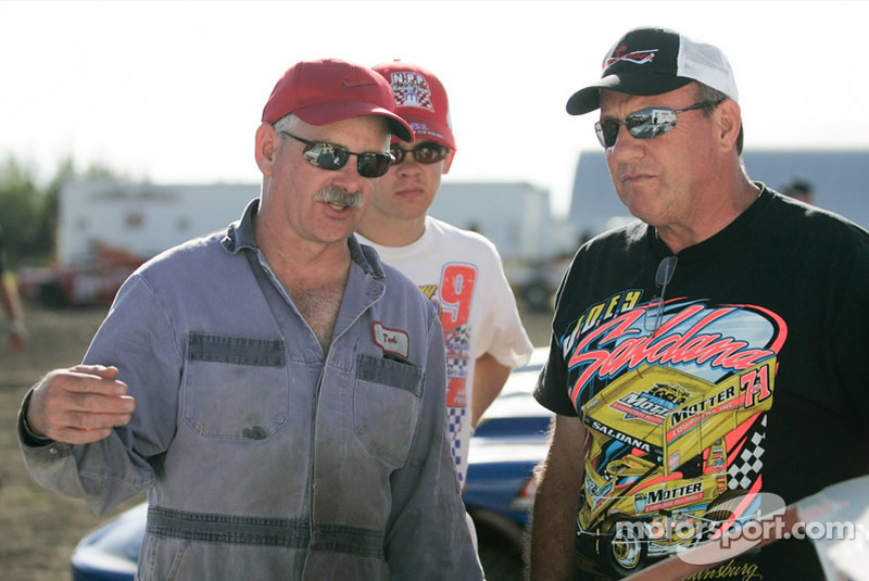 TED ZERBIN, LANE ZERBIN AND KENNY SCHRADER AT RACE OF CHAMPIONS EVENT IN EDMONTON, ALBERTA